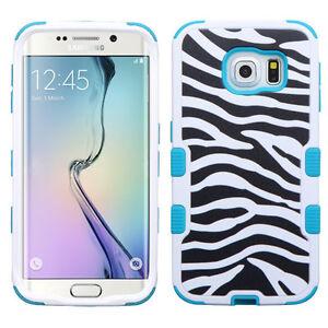 For Samsung GALAXY S6 Edge Phone HYBRID Shockproof Rubber Hard Case Cover Zebra