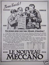 PUBLICITÉ 1927 LE NOUVEAU MECCANO BONNE NOUVELLE ! - ADVERTISING