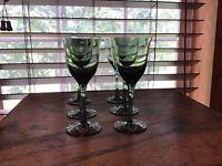 6 Vintage Tivoli Green Crystal 2 Oz Cordial Glasses Japan