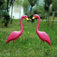 Stand Flamingo Bird Statue Model Outdoor Garden Pond Lawn Ornament Decor 2Pcs
