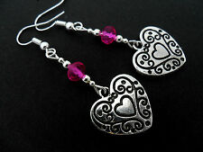 A PAIR OF   TIBETAN SILVER DANGLY HEART & PINK CRYSTAL  BEAD EARRINGS. NEW.