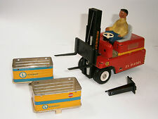 """VINTAGE RARE GERMAN BATTERY OPERATED TOY TIN CAR FORKLIFT STAGOR """"MS Veb"""" 1950's"""