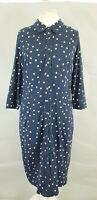 Boden Tara Navy Blue Jersey Polka Dot Belted Button Down Shirt Dress UK 16 L