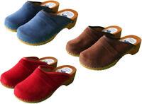 Swedish Danish Velour Clogs Wooden Sole Beach Sandal 100% Leather Upper Size 3-8
