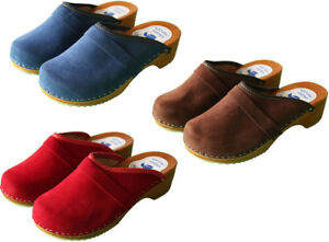 Women's Swedish Clogs Danish Velour Wooden Sole Beach Sandals Leather Size 3-8