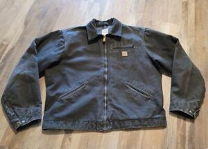 Carhartt J97 PTL Detroit Blanket Lined Full Zip Jacket Men's XL Tall Black Gray