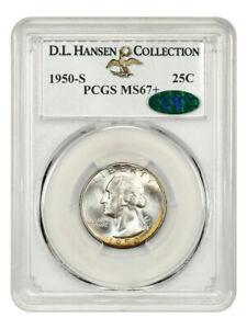 1950-S 25c PCGS/CAC MS67+ ex: D.L. Hansen - Gorgeous! - Washington Quarter