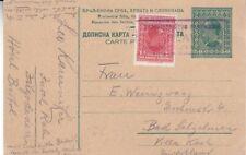 1920's Yugoslavia #43 on 50p Postal Card to Germany; Unusual cancel  *d