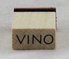 Vino Wood Mounted Rubber Stamp Inkadinkado NEW wine grape bar drink cocktail art