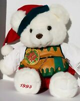 Vintage CHRISTMAS TEDDY 1995 KMart Bear Santa Hat Red Green White Plush Stuffed