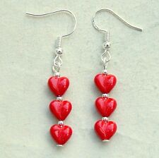 Red Love Heart Earrings Sterling Silver Hooks Drop Dangle Style LB1367