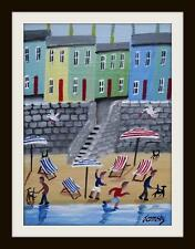 "Seaside Steps : Primitive Northern Art Oil Painting : John Ormsby 14""X 10"""