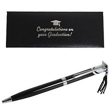 Gift Boxed Black and Silver Graduation Pen with Hassel Hat Top Tassel Mortar