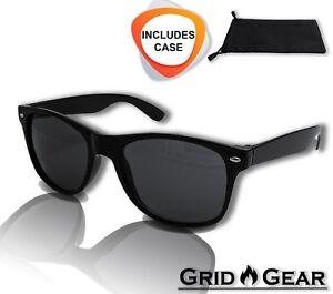 Retro Aviator Sunglasses Black Lens Driving UV400 For Men & Women Eyewear Case