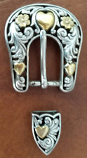 """3/4"""" Leather Heart Belt Buckle and Tip Set New"""