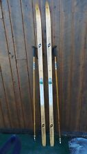 """VINTAGE Wooden 74"""" Skis Has Original Wood Finish Signed CAN SPORT + Poles"""