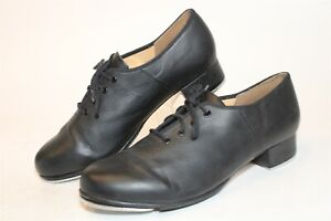 Bloch Womens 10 Techno Tap Black Leather Lace Up Heels Jazz Dance Shoes