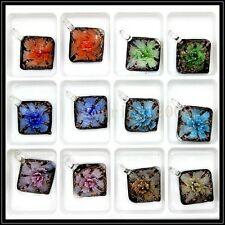 12 Pcs Lovely Love Crystal Murano art glass beaded leather pendant necklace