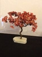 """Lovely Vintage Silk And Brass Bonsai Tree With Bells Japanese On Quartz  9"""" H X"""