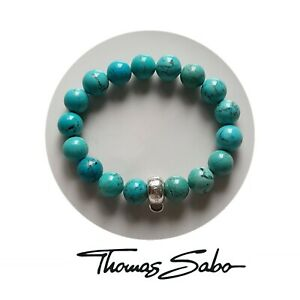 Thomas Sabo club 925 sterling silver turquoise bead charm bracelet carrier 16cm
