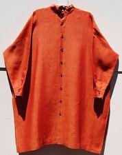 "NEW Eskandar FLAME CROSS DYE Linen Mandarin Collar 38"" Long Tunic Top (0) $895"