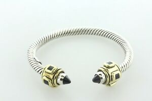"""Mexico Sterling Silver 925 Cable Cuff Bracelet with Brass & Onyx Ends - 6.75"""""""