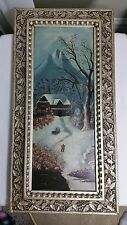 ANTIQUE OIL PAINTING WINTER SCENE ON ACADEMY BOARD MID/LATE 1800s FOLK ART STYLE