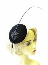 Black Statement Quill Feather Fascinator Races Ascot Hat Headpiece Vintage 1614