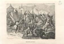 Bataille de Cassel 1328 roi Philippe VI de Valois Nicolaas Zannekin GRAVURE 1883