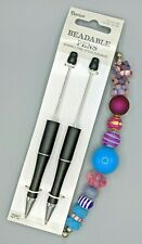 3 pc Beaded Pen Kit, 2 Black Plastic Pens, 1 Strand Large Hole Beads, B-A472