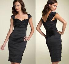 $348 Tadashi Shoji Black Beaded Sweetheart Lace Stretch Satin Sheath Dress