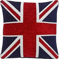 "THICK HEAVYWEIGHT CHENILLE RED WHITE BLUE UNION JACK 18"" CUSHION COVER"
