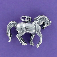 Horse Charm Sterling Silver 925 for Bracelet Pawing Prancing Equestrian Stable