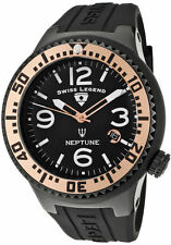 Swiss Legend Men's Watch Neptune Black Dial Rose Gold Tone Ion Plated Stainless