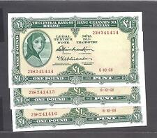 Ireland p-64a , UNC, 1 Pound , 1968,  Lady Lavery , Auction For One! note