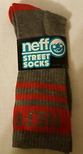 NEFF New World Men's Crew Street Socks - Charcoal and Red - NWT