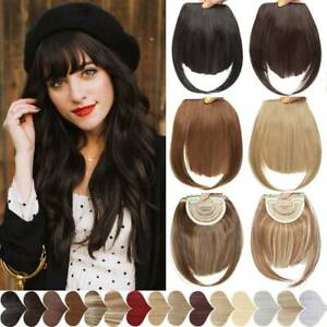 Thin Fringe Bangs False Fake Hair Extension Clip on In as Human Front Hairpieces