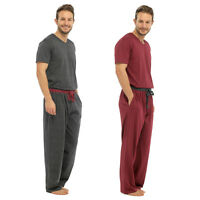 Mens Cotton Jersey Pyjamas Check/Stripe Bottoms Jersey T Shirt Sizes S - 2XL