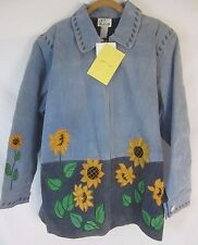 Quacker Factory Sunflower Suede Leather Coat Jacket Womens 2X E160 New w/Defects