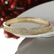 9K YELLOW GOLD FILLED CRYSTAL BRACELET LADY WOMEN SIMPLE CLASSIC BANGLE