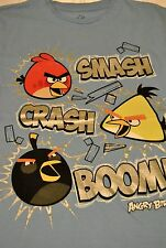 "NEW! ANGRY BIRDS "" SMASH, CRASH, BOOM! "" BOYS T-SHIRT, S- L (14/16),LIGHT BLUE"