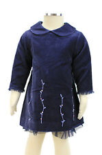 JACADI Girl's Amarant Navy Blue Flower Embrodered Dress Age 12 Months NWT $66