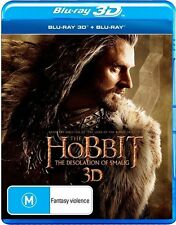 Hobbit - The Desolation of Smaug (3D Blu-ray, 2014, 4-Disc Set) New (D134)