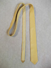 VERY SKINNY LEATHER MOD TIE SLIM JIM NU WAVE 60S 70S CREAM YELLOW 4cm END WIDTH
