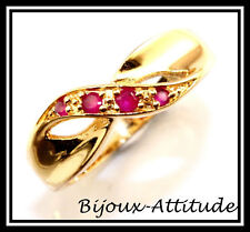 BAGUE LORA ENTRELACEE PLAQUEE OR 18K- 4 RUBIS CZ T57