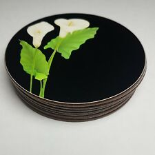 Lot / Set of 6 Beautiful Vintage Round JASON Lily on Black COASTERS Mint in Box