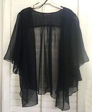 Womens BLACK Chiffon Plus Size 1X Chiffon Cardigan Bolero Top