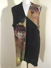 TS14+  ENCHANTED FOREST BLACK/PRINTED V NECK SPLIT DESIGN NYLON MESH TANK SZ M