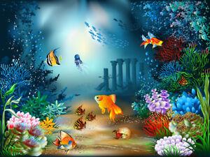 10x8FT Vinyl Colorful Underwater World Fish Plants Background Studio Backdrop LB