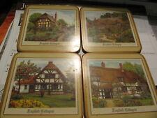 """New listing Vintage Pimpernel Coaster Cork Back England Set of 4 """"English Cottages"""""""